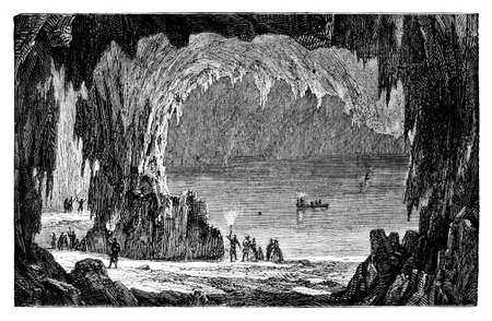 19e-eeuwse gravure van de Mammoth Cave, Kentucky