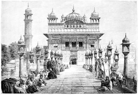 Victorian engraving of the Golden Temple, Amristar, India. Digitally restored image from a mid-19th century Encyclopaedia.