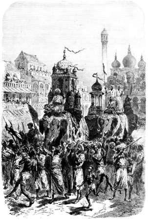 anthropology: Victorian engraving of a  princely procession, India. Digitally restored image from a mid-19th century Encyclopaedia.