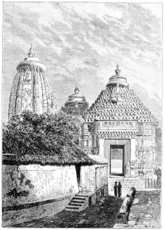 Victorian engraving of the Konark Sun Temple, Orisha, India. Digitally restored image from a mid-19th century Encyclopaedia.
