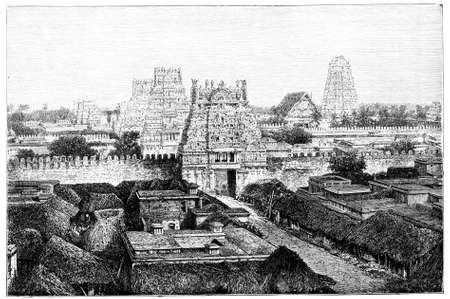 Victorian engraving of temple near Tiruchirappalli, India. Digitally restored image from a mid-19th century Encyclopaedia.
