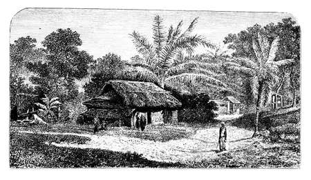 anthropology: Victorian engraving of a  traditional village scene, India. Digitally restored image from a mid-19th century Encyclopaedia.