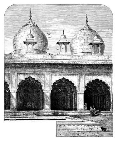 agra: Victorian engraving of Moti Masjid, Agra, India. Digitally restored image from a mid-19th century Encyclopaedia.