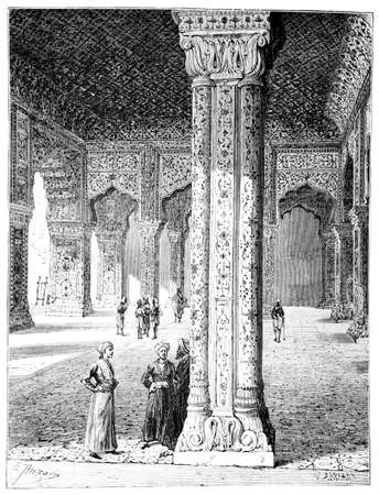 Victorian engraving of a  palace interior, Delhi, India. Digitally restored image from a mid-19th century Encyclopaedia.