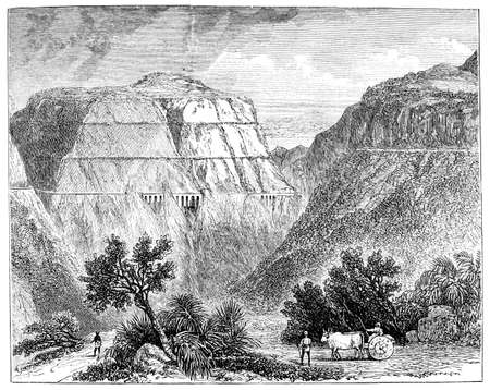 railway transportation: Victorian engraving of a  view of the railway through Bhor Ghat, India. Digitally restored image from a mid-19th century Encyclopaedia.