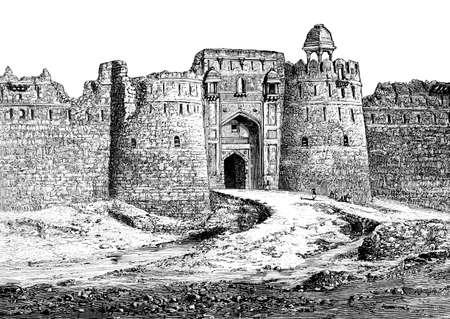 Purana Qila, 델리, 인도의 빅토리아 조각. 19 세기 중반 백과 사전에서 디지털 복원 된 이미지.