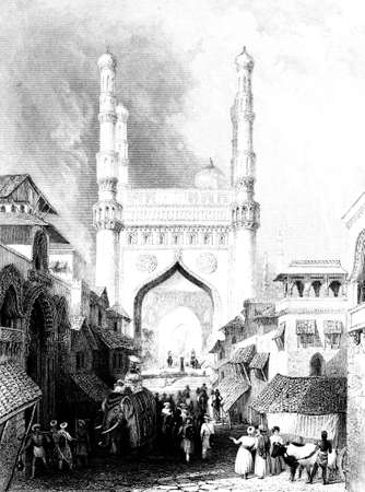 restored: Victorian engraving of Hyderabad, India. Digitally restored image from a mid-19th century Encyclopaedia. Stock Photo