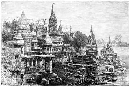 Victorian engraving of a view of Hindu temples at Varansi, India. Digitally restored image from a mid-19th century Encyclopaedia. Banco de Imagens - 42498630