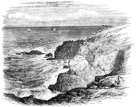 19th: 19th century engraving of Lands End Cornwall, UK Stock Photo