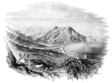 Grabado del siglo 19 del Valle de Machico, Madeira Foto de archivo - 42498636