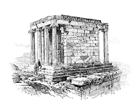 Victorian engraving of ancient Greek ruins. Digitally restored image from a mid-19th century Encyclopaedia.
