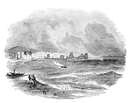19th: 19th century engraving of Tyre, Lebanon
