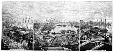 19th: 19th century engraving of the docks at Wick, Scotland