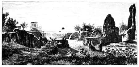 ruin: 19th century engraving of the ruins of The Palace of the Caesars, Rome, Italy, photographed from a book  titled