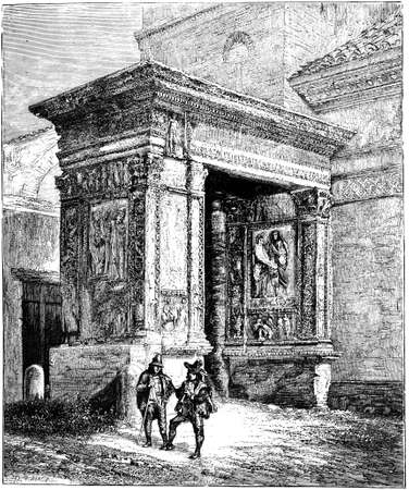 19th century engraving of the Arch of the Money Changers, Rome, Italy, photographed from a book  titled Stok Fotoğraf