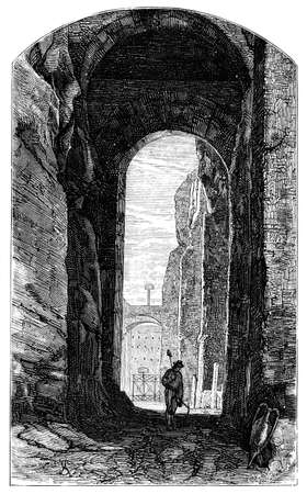 19th century engraving of the Porta Romana, Rome, Italy, photographed from a book  titled Stock Photo