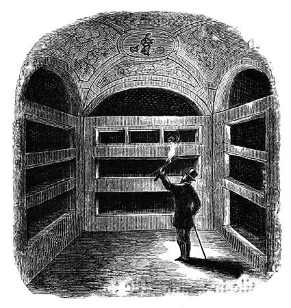 titled: 19th century engraving of the Catacombs, Rome, Italy, photographed from a book  titled