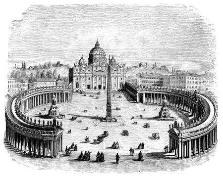 19th centruy engraving of St. Peters Square, Rome