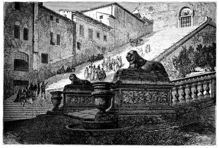 19th century engraving of Santa Maria in Aracoeli, Rome, Italy, photographed from a book  titled