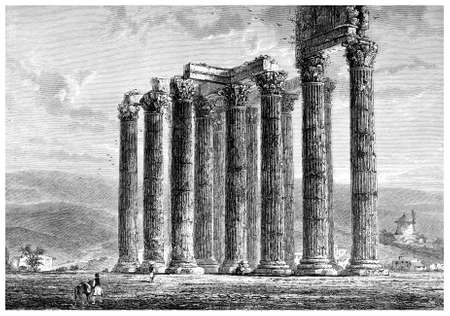 ruins: Victorian engraving of the ruins of an ancient Greek temple. Digitally restored image from a mid-19th century Encyclopaedia.
