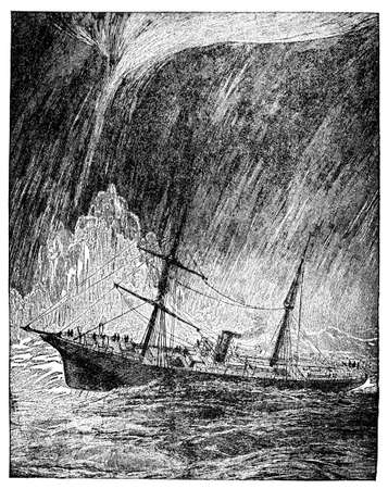 Victorian engraving of a storm and water spout at sea