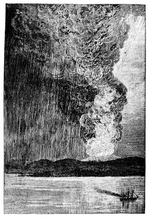 volcano mountain erupting: Victorian engraving of a volcanic eruption on Java Stock Photo