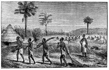 노예와 아프리카 마을의 빅토리아 조각 스톡 콘텐츠