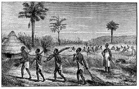 Victorian engraving of an African village with slaves