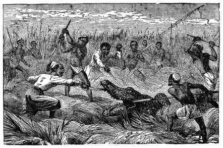 anthropology: Victorian engraving of a crocodile hunt