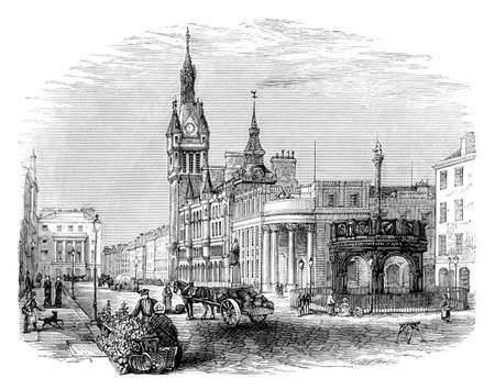 aberdeen: Victorian engraving of Aberdeen, Scotland. Digitally restored image from a mid-19th century Encyclopaedia.