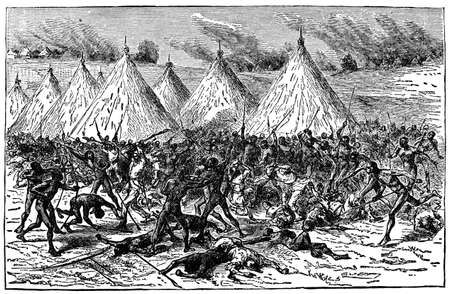 massacre: Victorian engraving of a battle between indigenous Africans and colonials