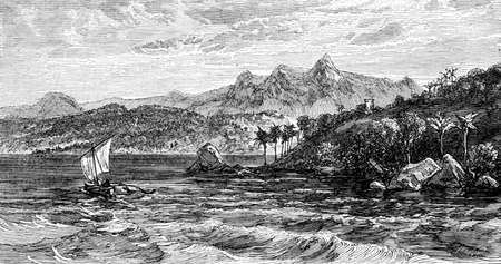 sri lanka: Victorian engraving of Adams Peak, Sri Lanka