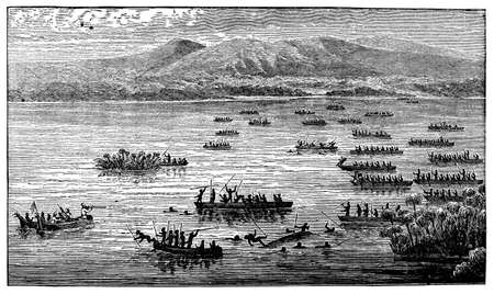 Victorian engraving of a riverront colonial battle
