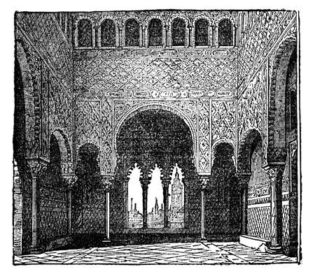 restored: Victorian engraving of interior of Alhambra, Granada, Spain. Digitally restored image from a mid-19th century Encyclopaedia.