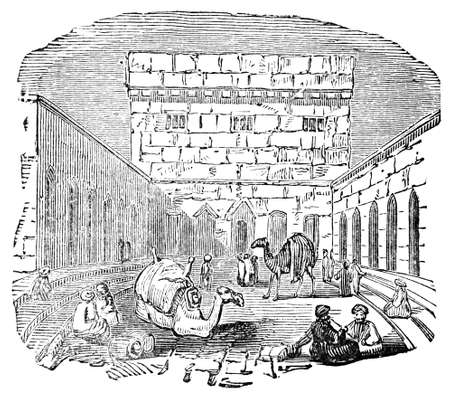 Victorian engraving of a Persian caravan at rest. Digitally restored image from a mid-19th century Encyclopaedia.