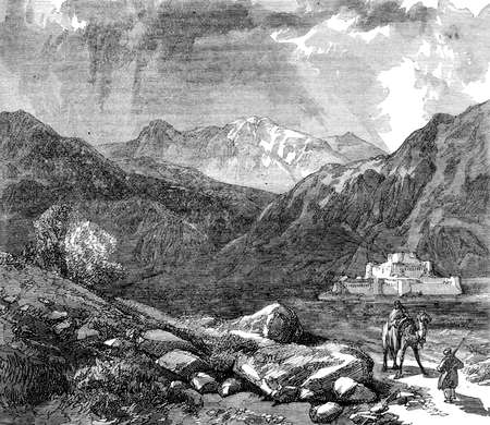 Victorian engraving of the Khyber Pass, Afganistan. Digitally restored image from a mid-19th century Encyclopaedia.