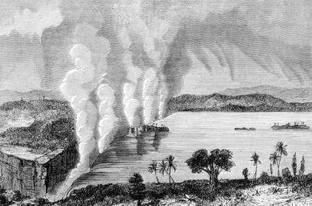 Grabado victoriana de Victoria Falls, Zambia. Imagen digitalmente restaurada de una enciclopedia mediados del siglo 19. Foto de archivo - 42498762
