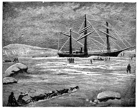 北極汽船のビクトリア朝の彫刻