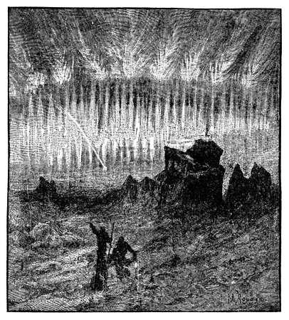 Victorian engraving of an aurora borealis