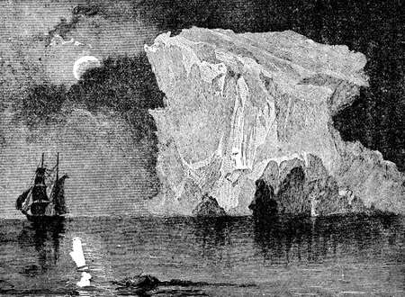 Victorian engraving of an Arctic polar expedition
