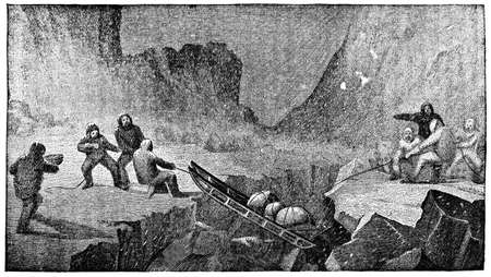 perilous: Victorian engraving of a perilous sled expedition