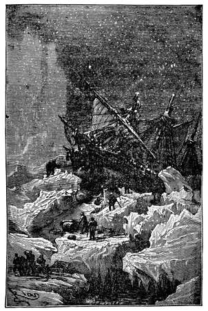 Victorian engraving of a stranded polar expedition Фото со стока