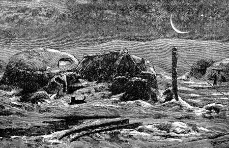 the passage: Victorian engraving of an Arctic camp