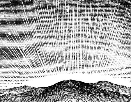 northern: Victorian engraving of an Aurora Borealis. Digitally restored image from a mid-19th century Encyclopaedia.