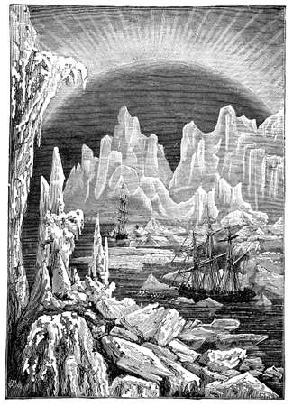 arctic landscape: Victorian engraving of an expedition through the Arctic Circle Stock Photo