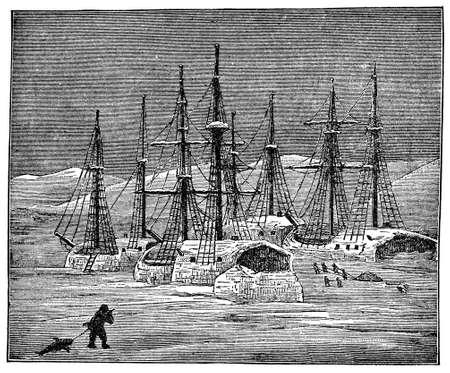 Victorian engraving of a frozen polar expedition