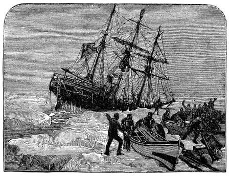 stranded: Victorian engraving of a stranded Arctic expedition Stock Photo