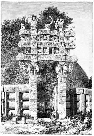sanchi stupa: Victorian engraving of Sanchi Stupa, India. Digitally restored image from a mid-19th century Encyclopaedia.