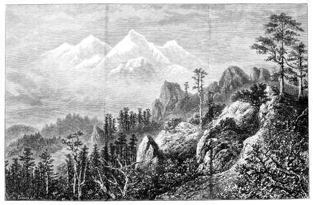 Victorian engraving of a  view of Mount Everest. Digitally restored image from a mid-19th century Encyclopaedia. Stock Photo
