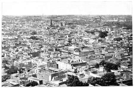 rooftop: Victorian engraving of a  rooftop view of Delhi, India. Digitally restored image from a mid-19th century Encyclopaedia. Stock Photo